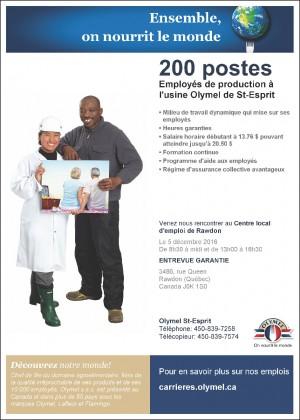 200 postes à combler - Centre Local d'emploi de Rawdon